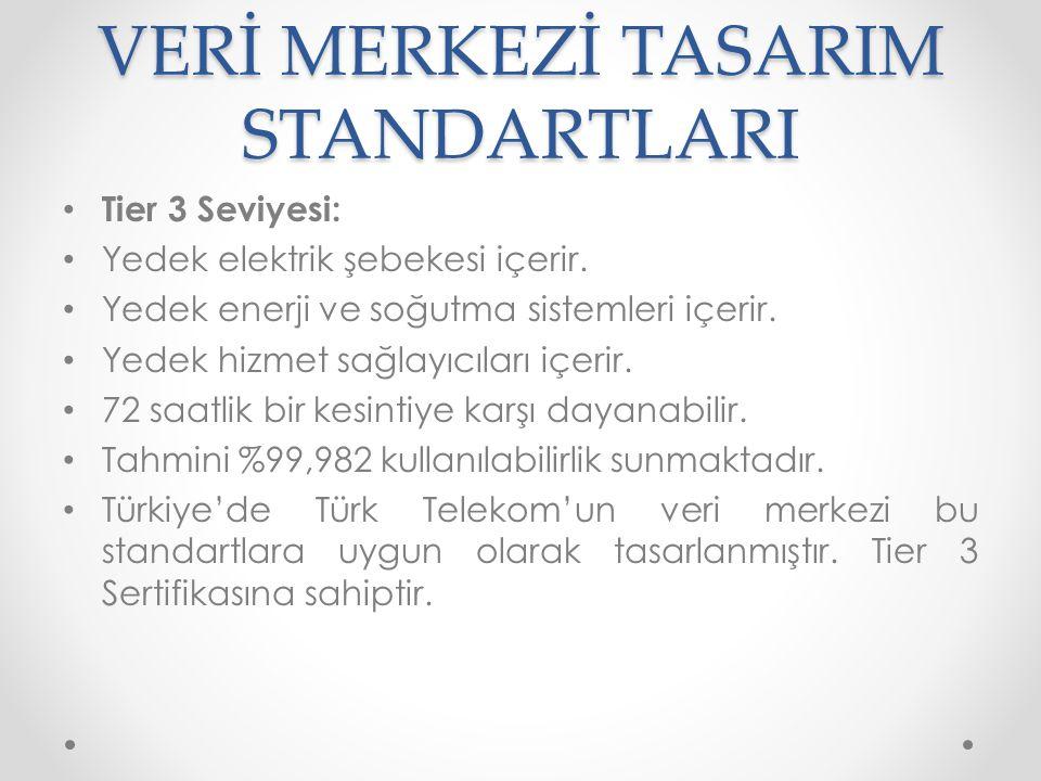 VERİ MERKEZİ TASARIM STANDARTLARI • Tier 4 seviyesi: • Bütün Tier 3 kriterleri sağlanır.