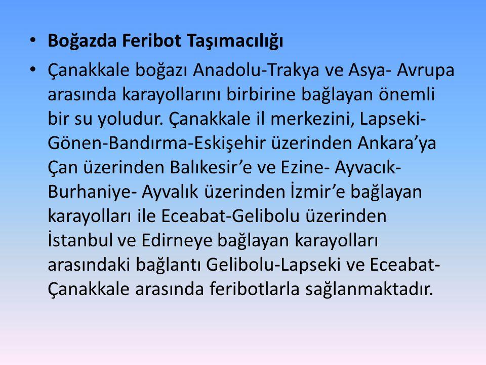 • Boğazda Feribot Taşımacılığı • Çanakkale boğazı Anadolu-Trakya ve Asya- Avrupa arasında karayollarını birbirine bağlayan önemli bir su yoludur. Çana
