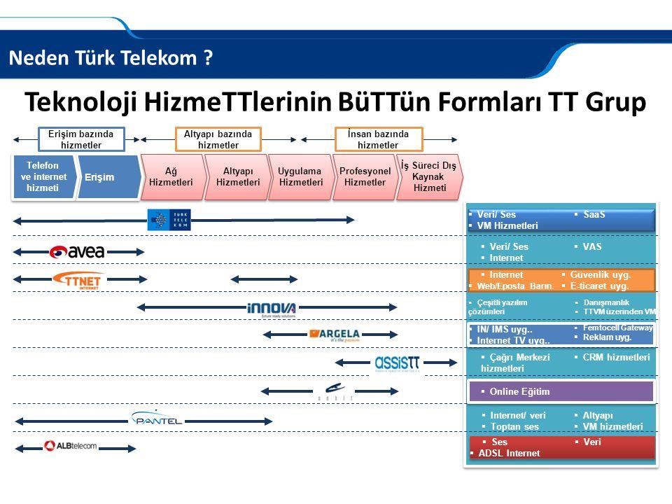 Neden Türk Telekom ? Altyapı Hizmetleri Uygulama Hizmetleri Telefon ve internet hizmeti Erişim Ağ Hizmetleri Profesyonel Hizmetler İş Süreci Dış Kayna