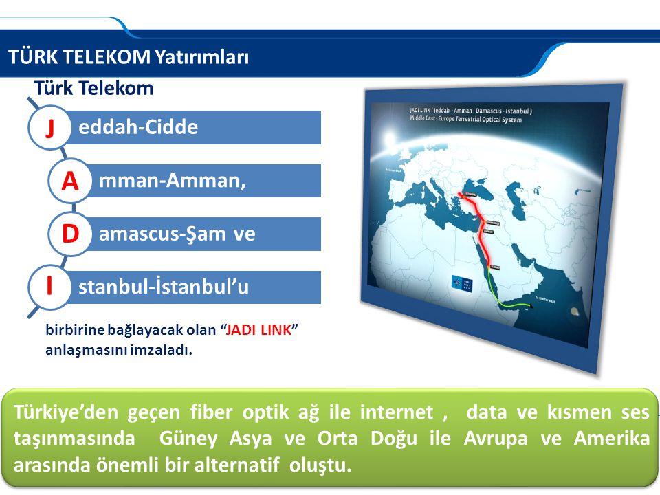 """TÜRK TELEKOM Yatırımları Türk Telekom eddah-Cidde mman-Amman, amascus-Şam ve stanbul-İstanbul'u J A D I birbirine bağlayacak olan """"JADI LINK"""" anlaşmas"""