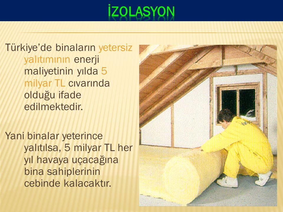 Türkiye'de binaların yetersiz yalıtımının enerji maliyetinin yılda 5 milyar TL cıvarında olduğu ifade edilmektedir.