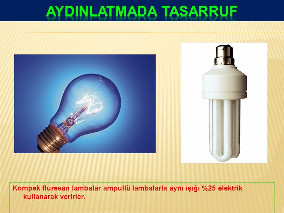Kompek fluresan lambalar ampullü lambalarla aynı ışığı %25 elektrik kullanarak verirler.