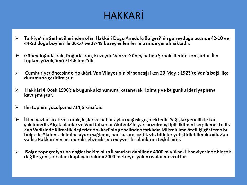HAKKARİ  Türkiye'nin Serhat illerinden olan Hakkâri Doğu Anadolu Bölgesi'nin güneydoğu ucunda 42-10 ve 44-50 doğu boyları ile 36-57 ve 37-48 kuzey en