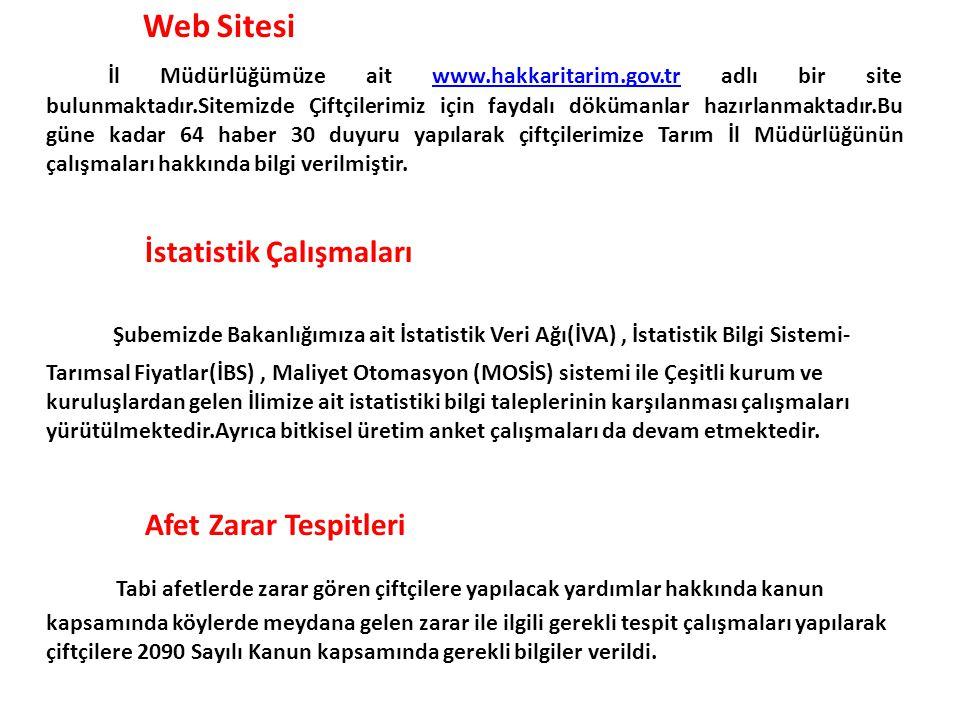 Web Sitesi İl Müdürlüğümüze ait www.hakkaritarim.gov.tr adlı bir site bulunmaktadır.Sitemizde Çiftçilerimiz için faydalı dökümanlar hazırlanmaktadır.B