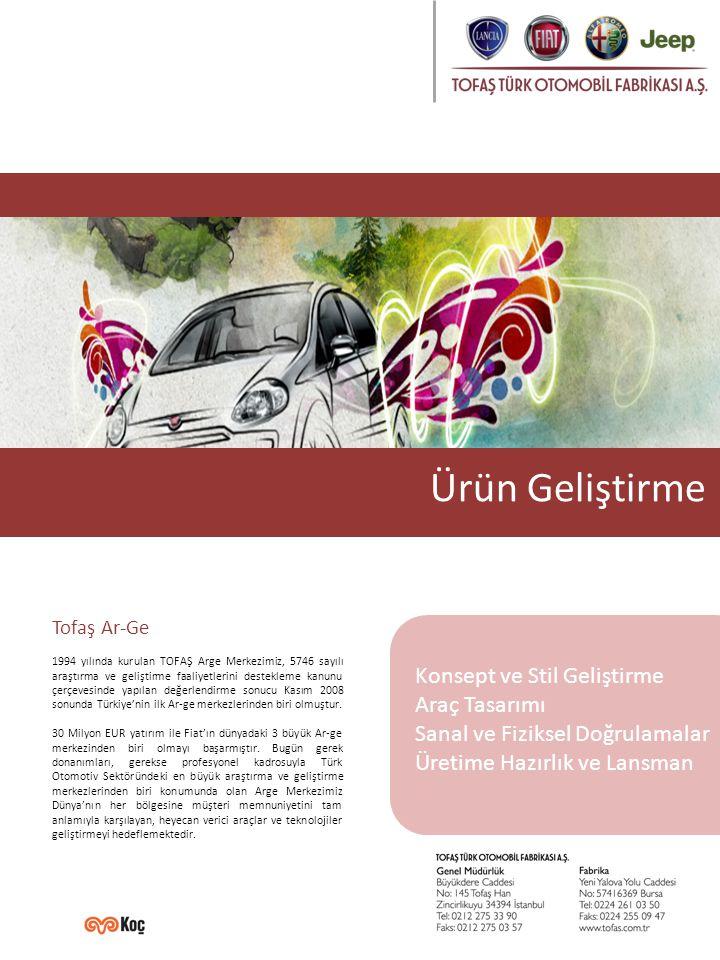 Tofaş Ar-Ge 1994 yılında kurulan TOFAŞ Arge Merkezimiz, 5746 sayılı araştırma ve geliştirme faaliyetlerini destekleme kanunu çerçevesinde yapılan değerlendirme sonucu Kasım 2008 sonunda Türkiye'nin ilk Ar-ge merkezlerinden biri olmuştur.