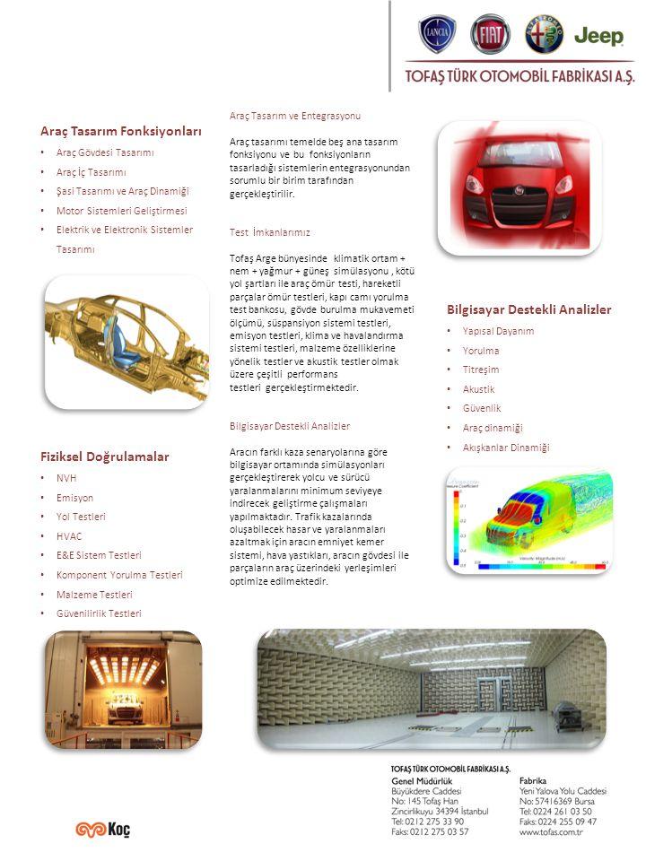 Araç Tasarım ve Entegrasyonu Araç tasarımı temelde beş ana tasarım fonksiyonu ve bu fonksiyonların tasarladığı sistemlerin entegrasyonundan sorumlu bir birim tarafından gerçekleştirilir.