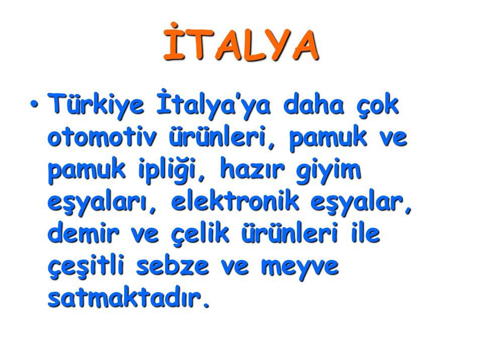 İTALYA • Türkiye İtalya'ya daha çok otomotiv ürünleri, pamuk ve pamuk ipliği, hazır giyim eşyaları, elektronik eşyalar, demir ve çelik ürünleri ile çe