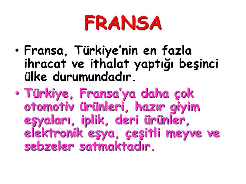 FRANSA • Fransa, Türkiye'nin en fazla ihracat ve ithalat yaptığı beşinci ülke durumundadır. • Türkiye, Fransa'ya daha çok otomotiv ürünleri, hazır giy
