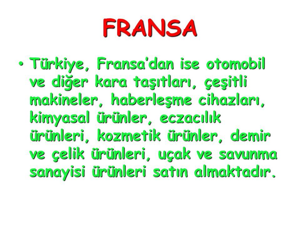 FRANSA • Türkiye, Fransa'dan ise otomobil ve diğer kara taşıtları, çeşitli makineler, haberleşme cihazları, kimyasal ürünler, eczacılık ürünleri, kozm