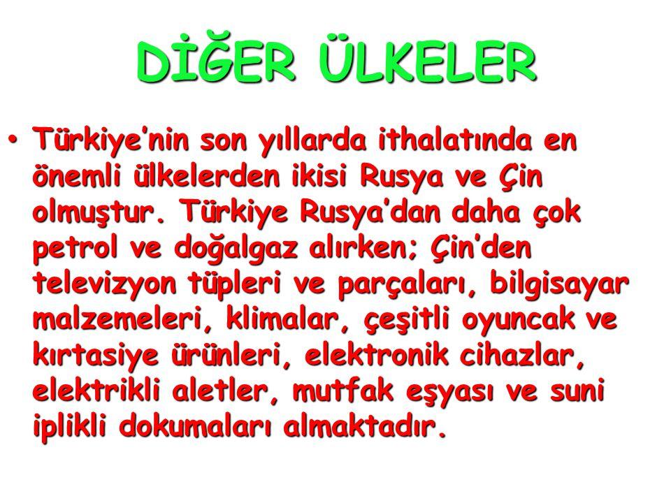 DİĞER ÜLKELER • Türkiye'nin son yıllarda ithalatında en önemli ülkelerden ikisi Rusya ve Çin olmuştur. Türkiye Rusya'dan daha çok petrol ve doğalgaz a