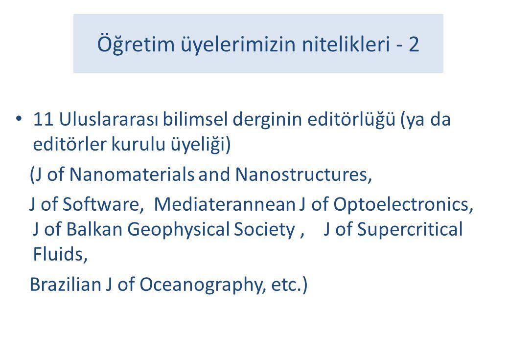 Öğretim üyelerimizin nitelikleri - 2 • 11 Uluslararası bilimsel derginin editörlüğü (ya da editörler kurulu üyeliği) (J of Nanomaterials and Nanostruc