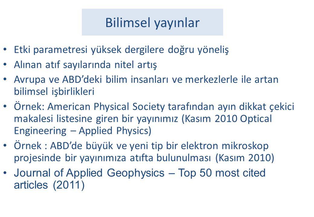 Bilimsel yayınlar • Etki parametresi yüksek dergilere doğru yöneliş • Alınan atıf sayılarında nitel artış • Avrupa ve ABD'deki bilim insanları ve merk