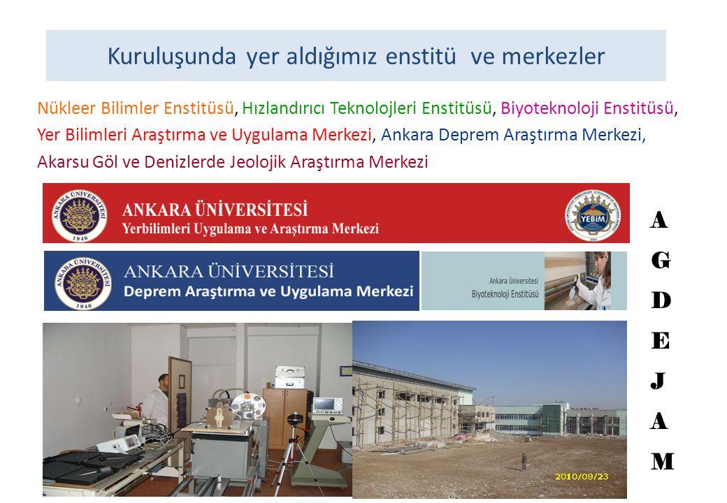 Kuruluşunda yer aldığımız enstitü ve merkezler Nükleer Bilimler Enstitüsü, Hızlandırıcı Teknolojleri Enstitüsü, Biyoteknoloji Enstitüsü, Yer Bilimleri