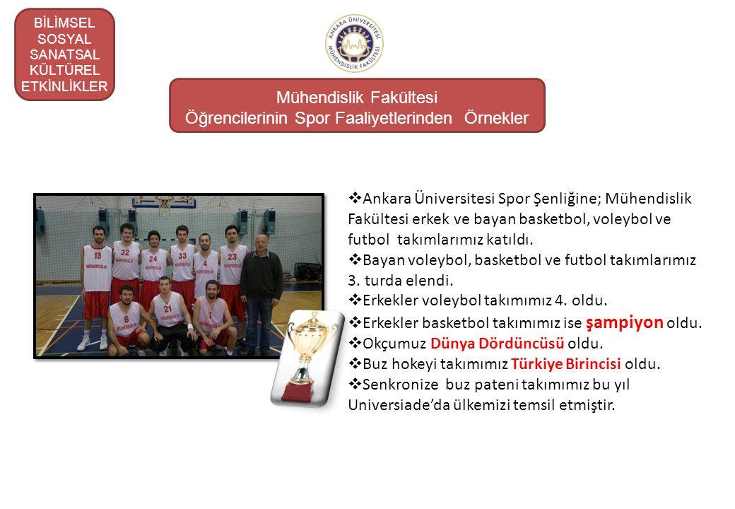Mühendislik Fakültesi Öğrencilerinin Spor Faaliyetlerinden Örnekler  Ankara Üniversitesi Spor Şenliğine; Mühendislik Fakültesi erkek ve bayan basketb
