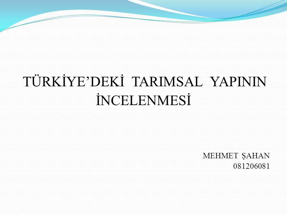 TÜRKİYE'DEKİ TARIMSAL YAPININ İNCELENMESİ MEHMET ŞAHAN 081206081