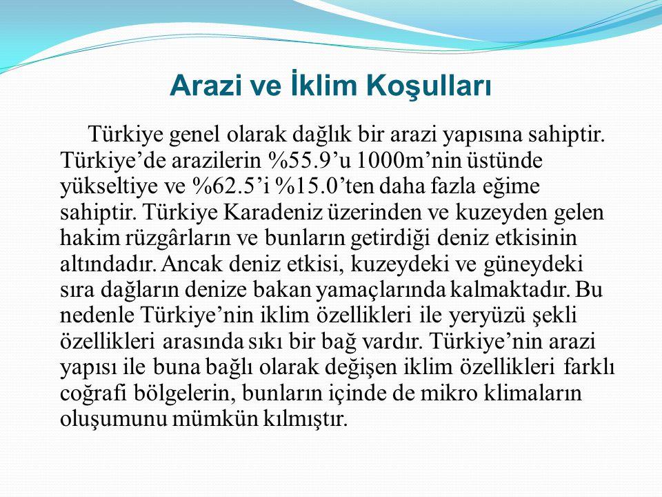 Arazi ve İklim Koşulları Türkiye genel olarak dağlık bir arazi yapısına sahiptir. Türkiye'de arazilerin %55.9'u 1000m'nin üstünde yükseltiye ve %62.5'