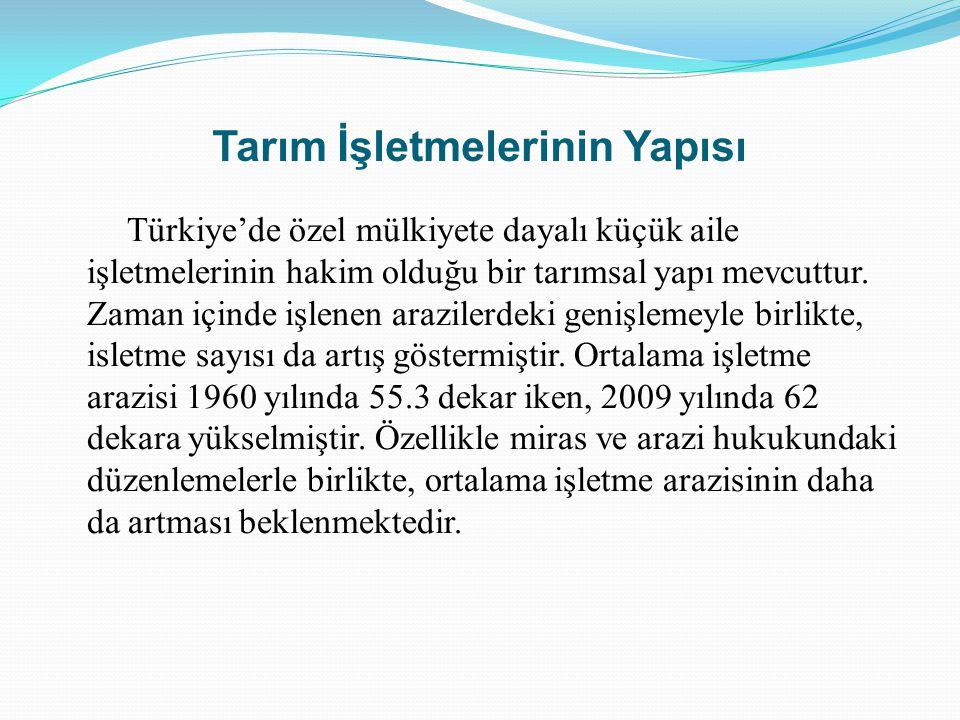 Tarım İşletmelerinin Yapısı Türkiye'de özel mülkiyete dayalı küçük aile işletmelerinin hakim olduğu bir tarımsal yapı mevcuttur. Zaman içinde işlenen