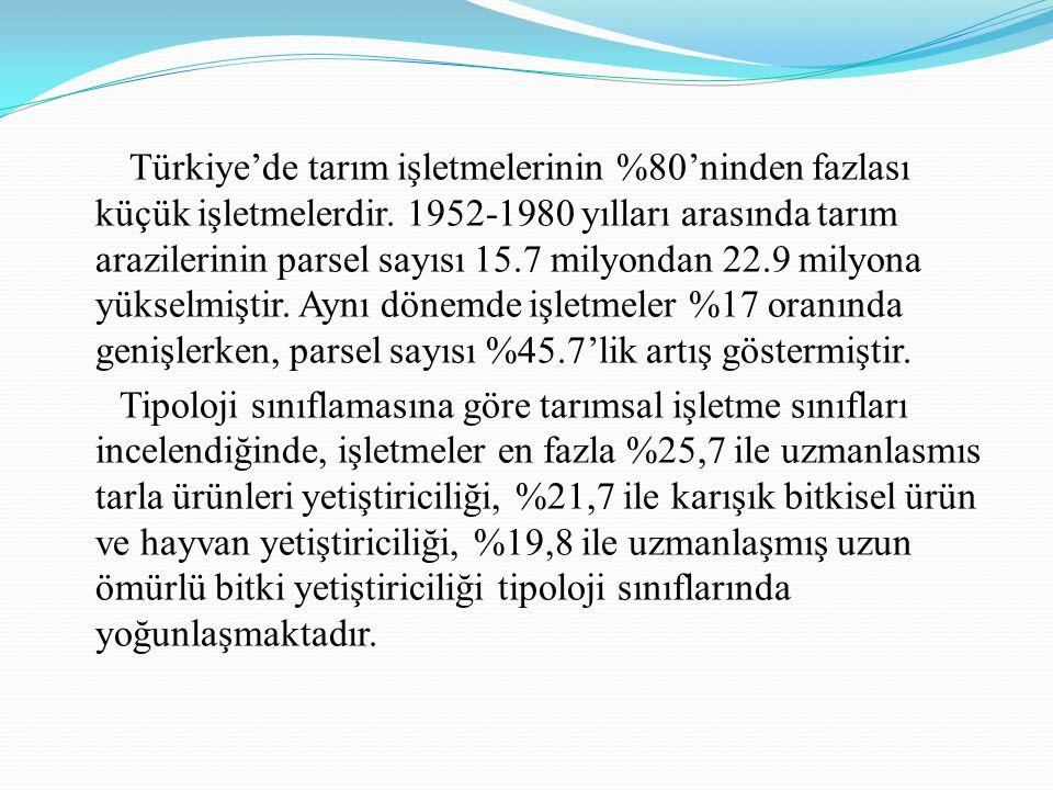 Türkiye'de tarım işletmelerinin %80'ninden fazlası küçük işletmelerdir. 1952-1980 yılları arasında tarım arazilerinin parsel sayısı 15.7 milyondan 22.