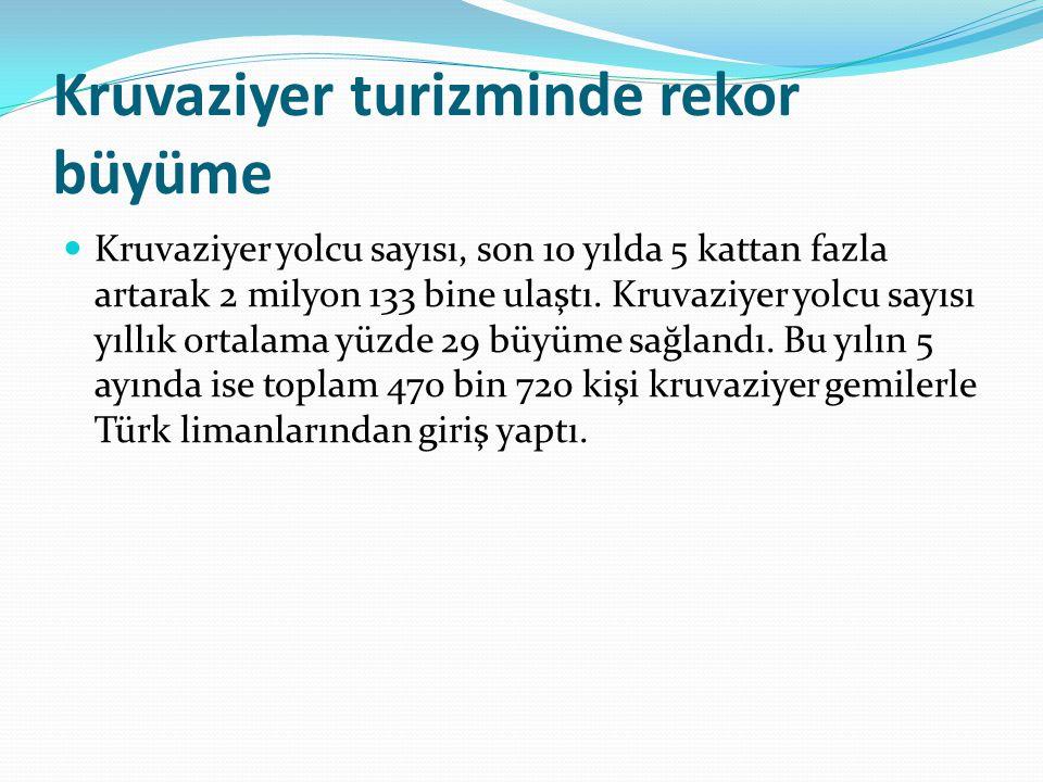  Deniz Ticareti Genel Müdürlüğü nden alınan bilgiye göre, kruvaziyer gemiler Akdeniz de 8, Ege de 10, Marmara da 4 ve Karadeniz de 4 olmak üzere toplam 26 limana yolcu getiriyor.