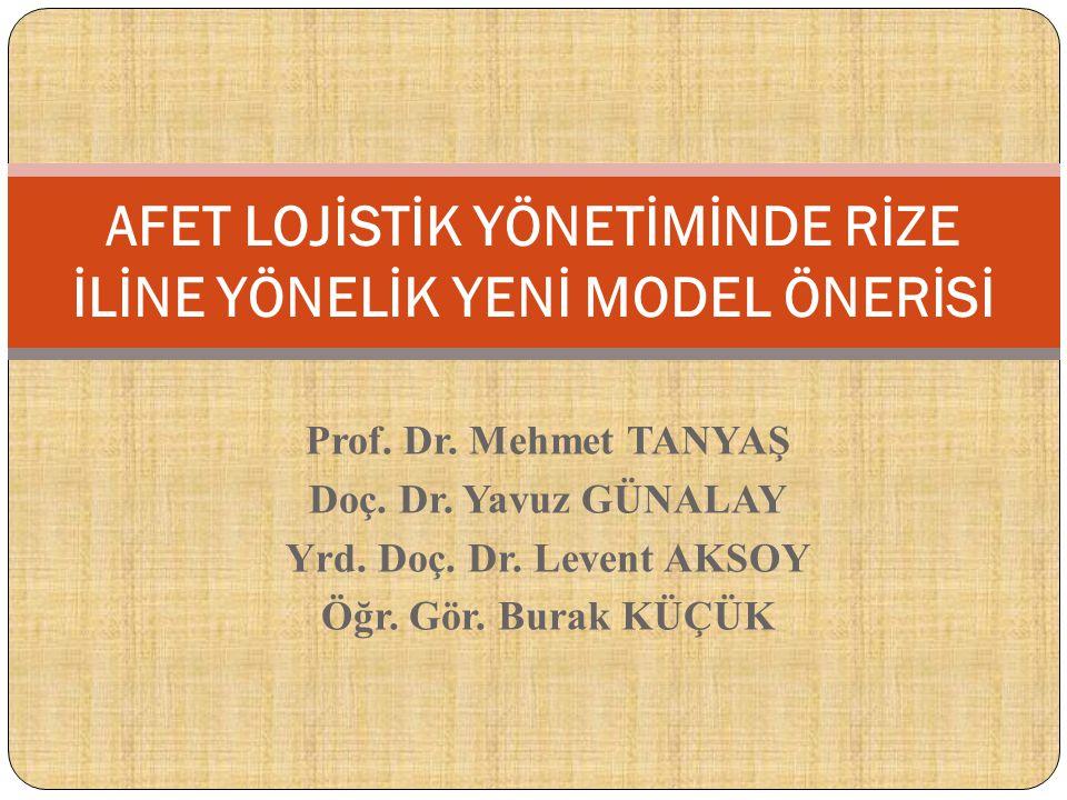 Prof. Dr. Mehmet TANYAŞ Doç. Dr. Yavuz GÜNALAY Yrd. Doç. Dr. Levent AKSOY Öğr. Gör. Burak KÜÇÜK AFET LOJİSTİK YÖNETİMİNDE RİZE İLİNE YÖNELİK YENİ MODE