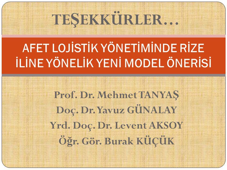 Prof. Dr. Mehmet TANYA Ş Doç. Dr. Yavuz GÜNALAY Yrd. Doç. Dr. Levent AKSOY Ö ğ r. Gör. Burak KÜÇÜK AFET LOJİSTİK YÖNETİMİNDE RİZE İLİNE YÖNELİK YENİ M