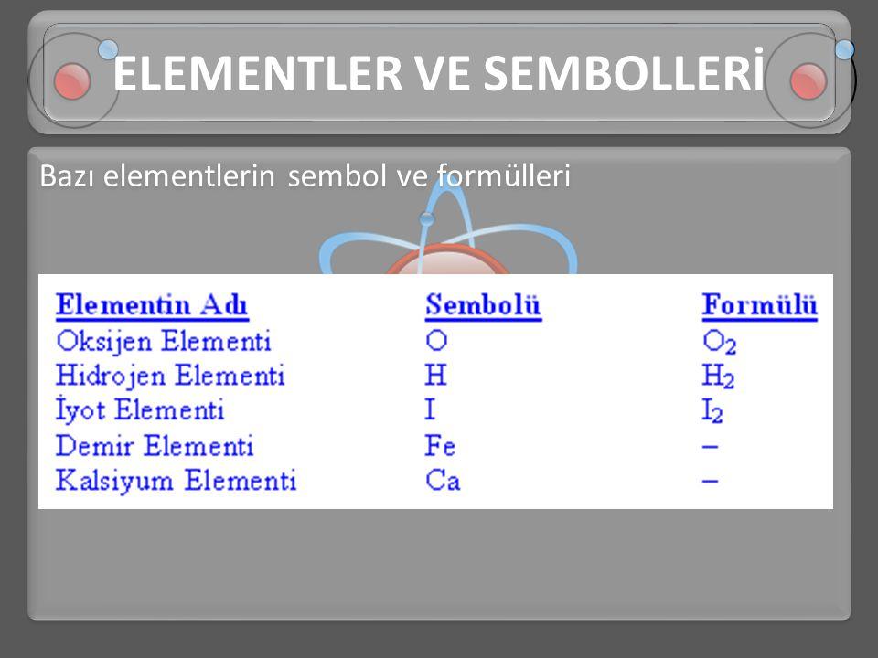 Bazı elementlerin sembol ve formülleri ELEMENTLER VE SEMBOLLERİ