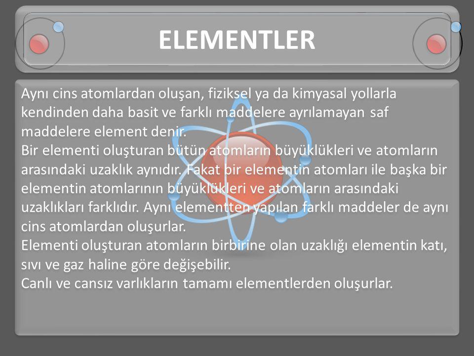 Aynı cins atomlardan oluşan, fiziksel ya da kimyasal yollarla kendinden daha basit ve farklı maddelere ayrılamayan saf maddelere element denir. Bir el