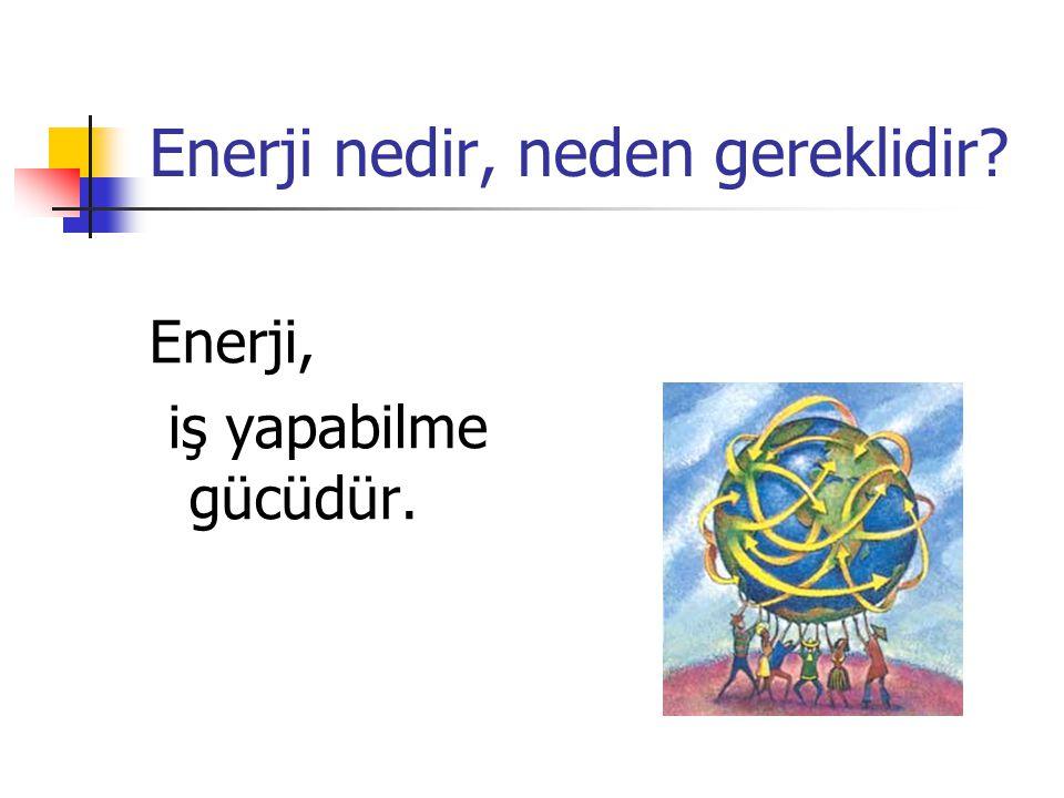 Enerji nedir, neden gereklidir? Enerji, iş yapabilme gücüdür.