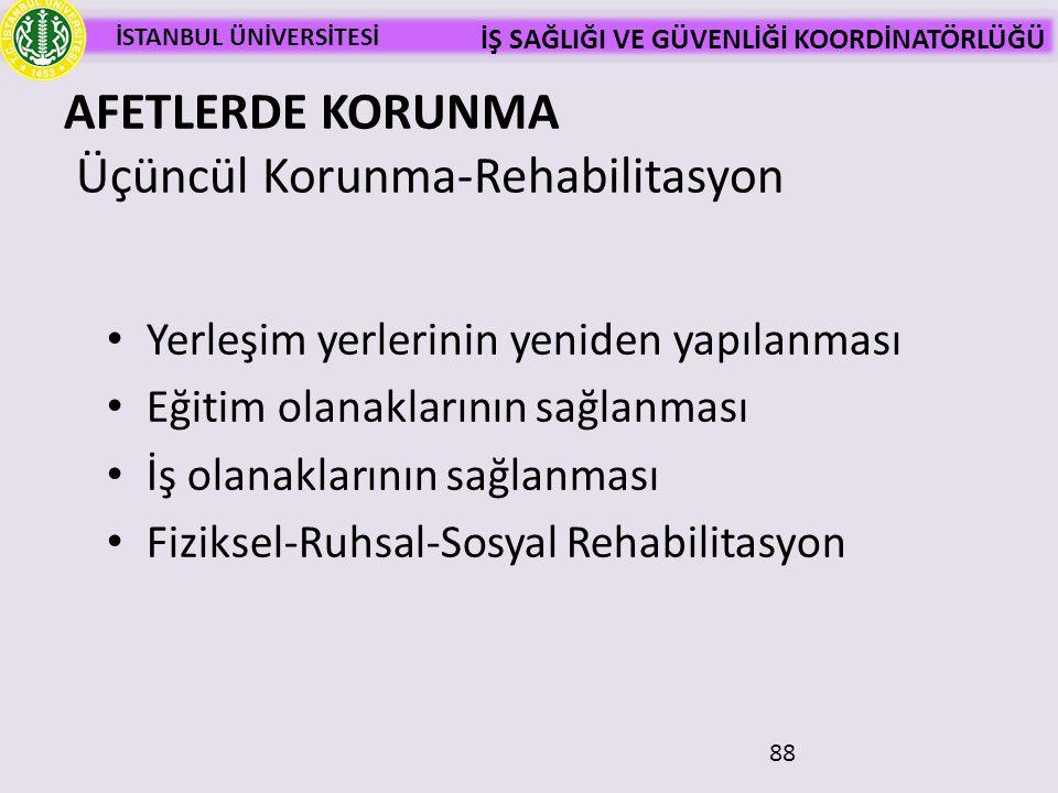 İSTANBUL ÜNİVERSİTESİ İŞ SAĞLIĞI VE GÜVENLİĞİ KOORDİNATÖRLÜĞÜ 88 AFETLERDE KORUNMA Üçüncül Korunma-Rehabilitasyon • Yerleşim yerlerinin yeniden yapıla