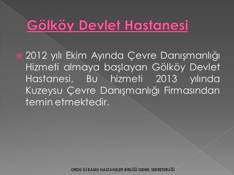  2012 yılı Ekim Ayında Çevre Danışmanlığı Hizmeti almaya başlayan Gölköy Devlet Hastanesi, Bu hizmeti 2013 yılında Kuzeysu Çevre Danışmanlığı Firması
