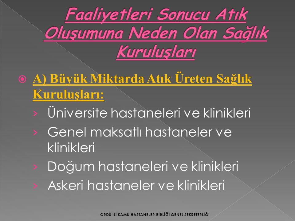  Akkuş Devlet Hastanesi:(2013 yılı ilk 5 aylık)  Hastanede Atık Planı Oluşturuldu.