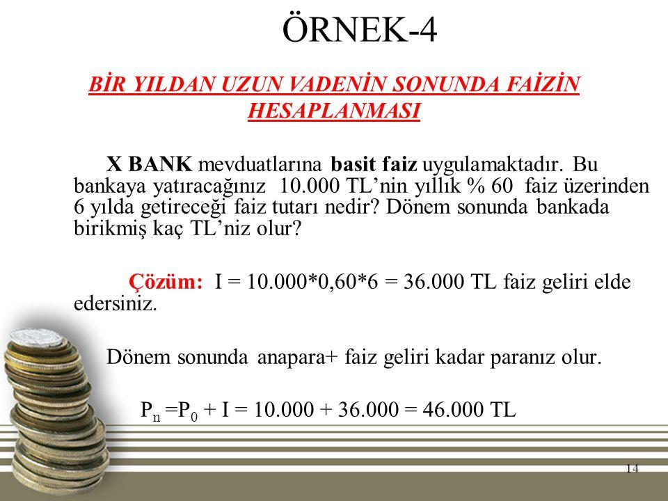 14 ÖRNEK-4 X BANK mevduatlarına basit faiz uygulamaktadır. Bu bankaya yatıracağınız 10.000 TL'nin yıllık % 60 faiz üzerinden 6 yılda getireceği faiz t