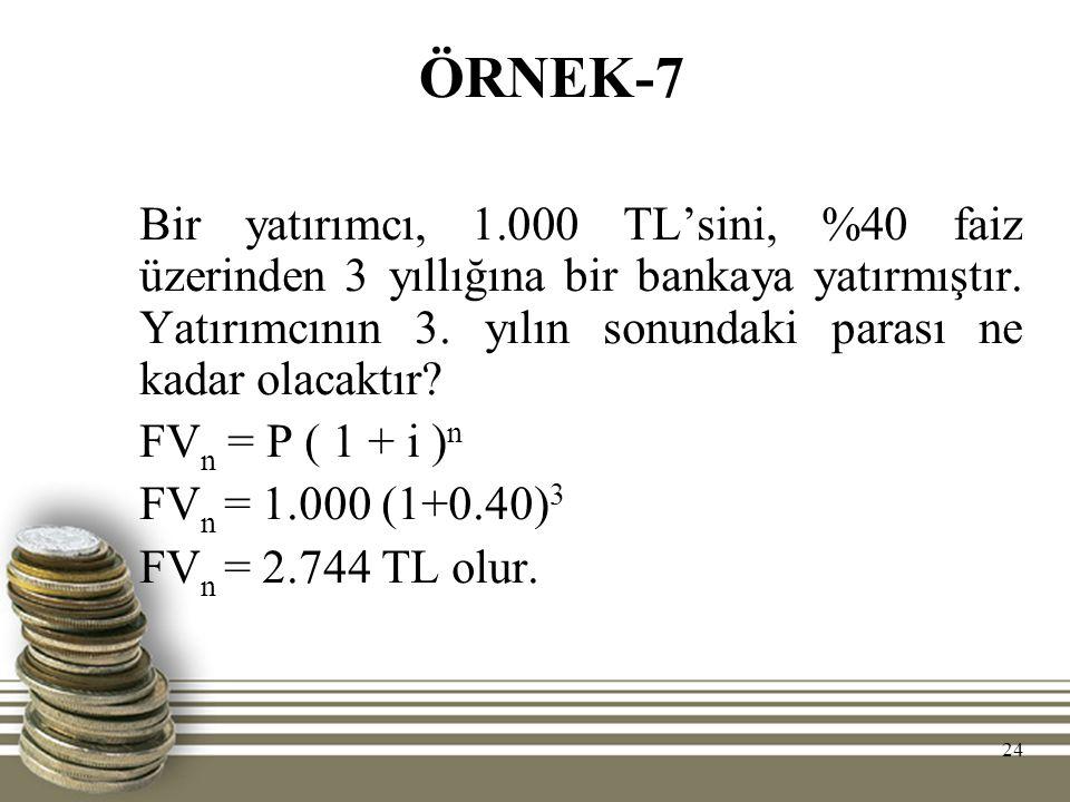 24 ÖRNEK-7 Bir yatırımcı, 1.000 TL'sini, %40 faiz üzerinden 3 yıllığına bir bankaya yatırmıştır. Yatırımcının 3. yılın sonundaki parası ne kadar olaca