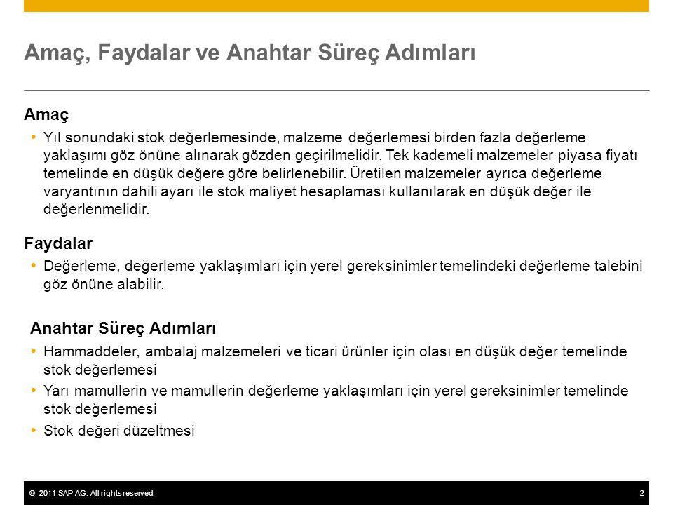 ©2011 SAP AG. All rights reserved.2 Amaç, Faydalar ve Anahtar Süreç Adımları Amaç  Yıl sonundaki stok değerlemesinde, malzeme değerlemesi birden fazl