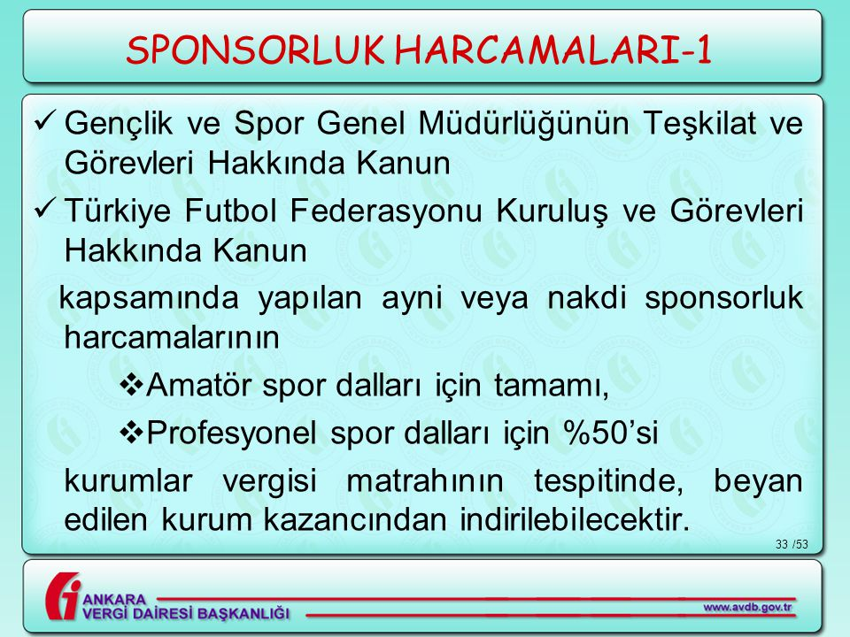 /5333 SPONSORLUK HARCAMALARI-1  Gençlik ve Spor Genel Müdürlüğünün Teşkilat ve Görevleri Hakkında Kanun  Türkiye Futbol Federasyonu Kuruluş ve Görev