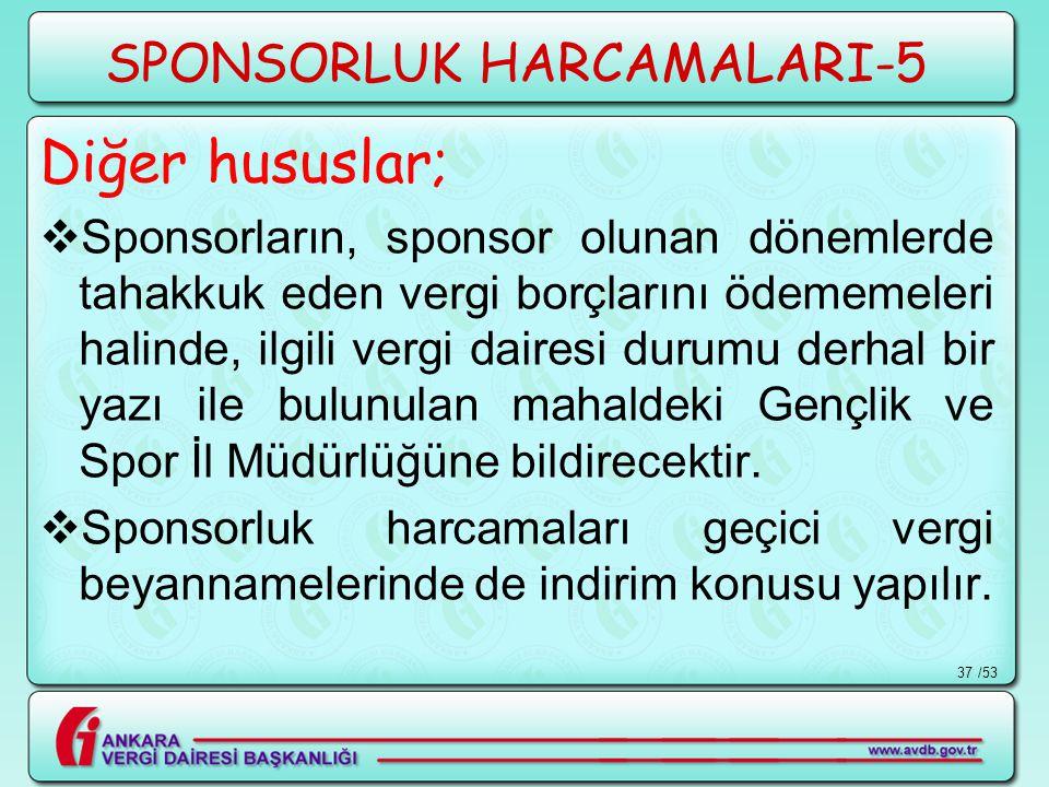 /5337 SPONSORLUK HARCAMALARI-5 Diğer hususlar;  Sponsorların, sponsor olunan dönemlerde tahakkuk eden vergi borçlarını ödememeleri halinde, ilgili ve