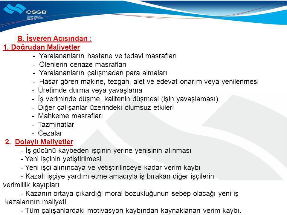 B. İşveren Açısından : 1. Doğrudan Maliyetler - Yaralananların hastane ve tedavi masrafları - Ölenlerin cenaze masrafları - Yaralananların çalışmadan