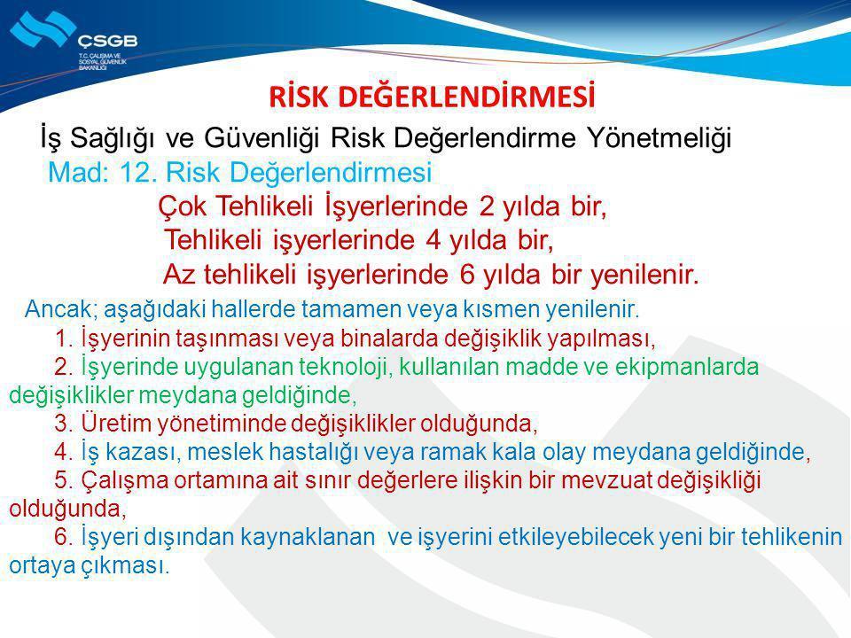 RİSK DEĞERLENDİRMESİ İş Sağlığı ve Güvenliği Risk Değerlendirme Yönetmeliği Mad: 12. Risk Değerlendirmesi Çok Tehlikeli İşyerlerinde 2 yılda bir, Tehl