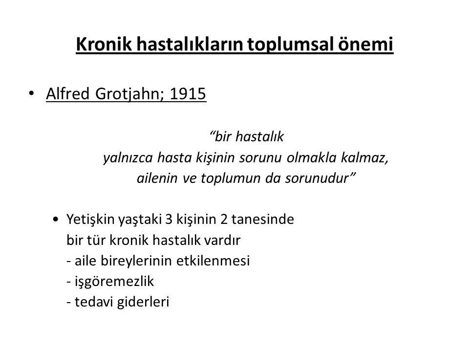 """Kronik hastalıkların toplumsal önemi • Alfred Grotjahn; 1915 """"bir hastalık yalnızca hasta kişinin sorunu olmakla kalmaz, ailenin ve toplumun da sorunu"""