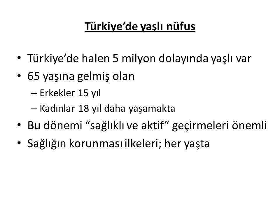 Türkiye'de yaşlı nüfus • Türkiye'de halen 5 milyon dolayında yaşlı var • 65 yaşına gelmiş olan – Erkekler 15 yıl – Kadınlar 18 yıl daha yaşamakta • Bu