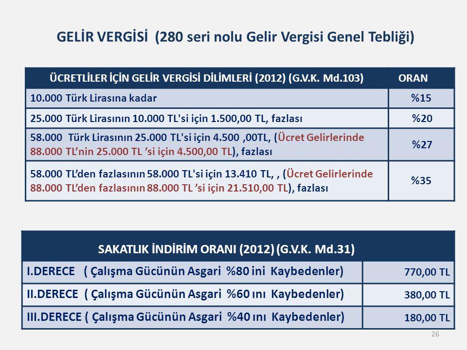 26 GELİR VERGİSİ (280 seri nolu Gelir Vergisi Genel Tebliği) ÜCRETLİLER İÇİN GELİR VERGİSİ DİLİMLERİ (2012) (G.V.K. Md.103) ORAN 10.000 Türk Lirasına