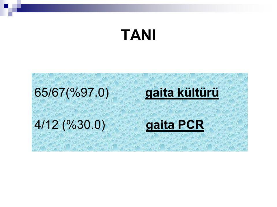 TANI 65/67(%97.0) gaita kültürü 4/12 (%30.0) gaita PCR