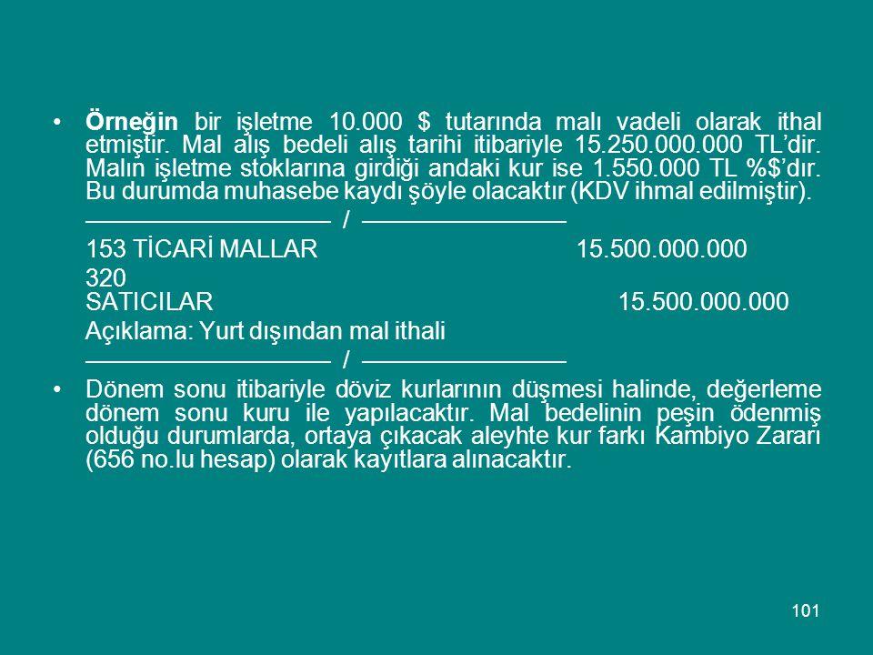 101 •Örneğin bir işletme 10.000 $ tutarında malı vadeli olarak ithal etmiştir. Mal alış bedeli alış tarihi itibariyle 15.250.000.000 TL'dir. Malın işl