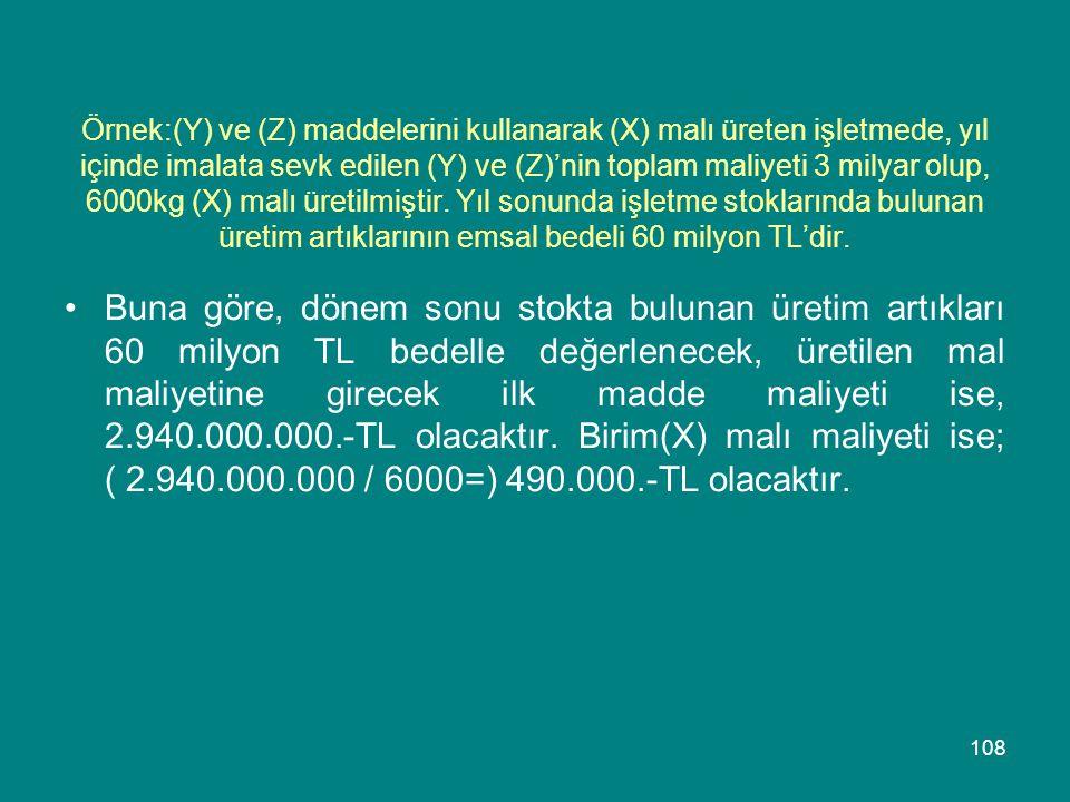 108 Örnek:(Y) ve (Z) maddelerini kullanarak (X) malı üreten işletmede, yıl içinde imalata sevk edilen (Y) ve (Z)'nin toplam maliyeti 3 milyar olup, 60