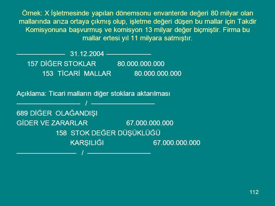 112 Örnek: X İşletmesinde yapılan dönemsonu envanterde değeri 80 milyar olan mallarında arıza ortaya çıkmış olup, işletme değeri düşen bu mallar için