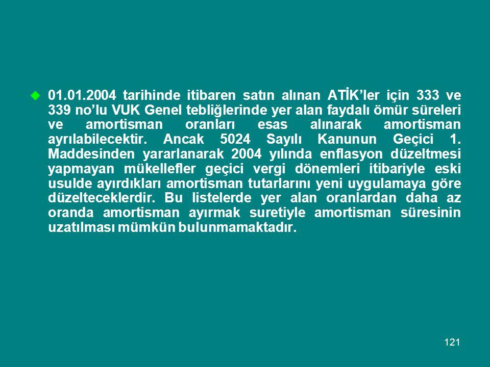 121  01.01.2004 tarihinde itibaren satın alınan ATİK'ler için 333 ve 339 no'lu VUK Genel tebliğlerinde yer alan faydalı ömür süreleri ve amortisman o