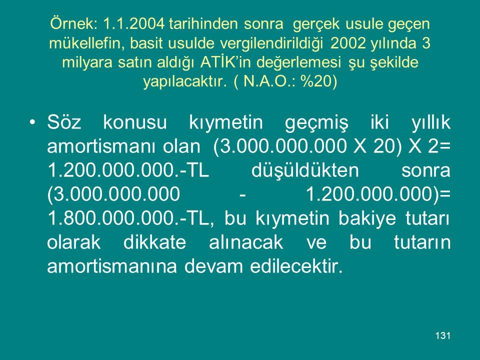 131 Örnek: 1.1.2004 tarihinden sonra gerçek usule geçen mükellefin, basit usulde vergilendirildiği 2002 yılında 3 milyara satın aldığı ATİK'in değerle
