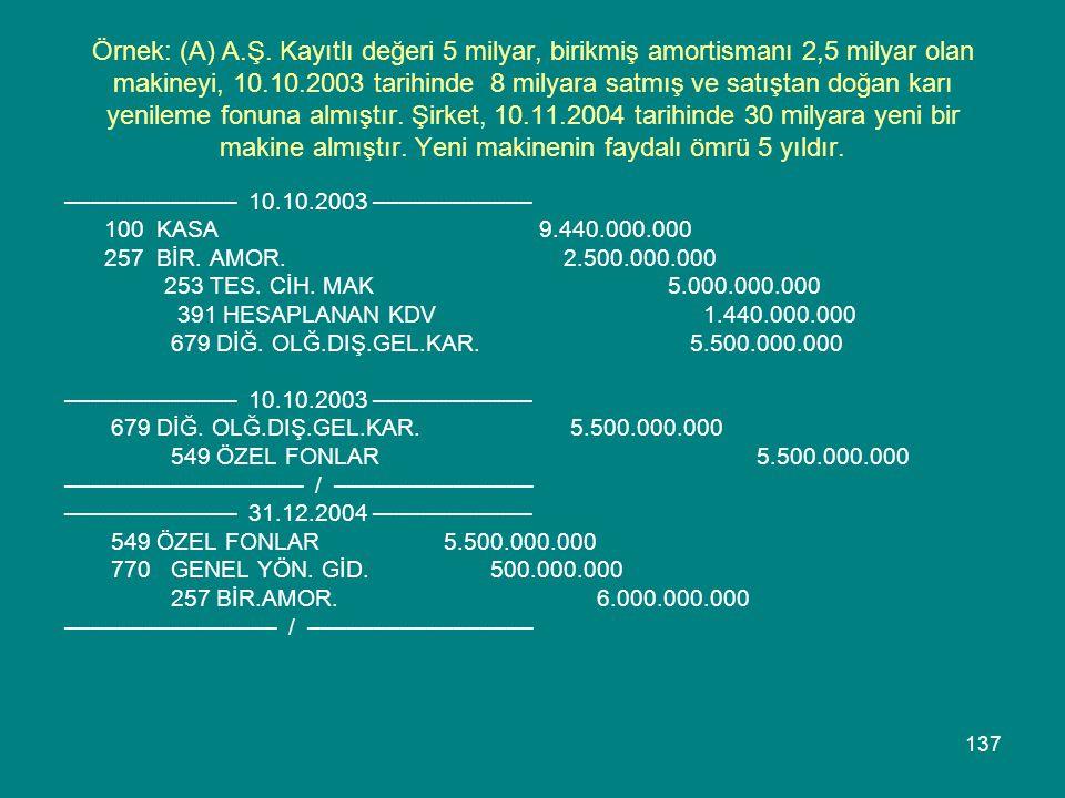137 Örnek: (A) A.Ş. Kayıtlı değeri 5 milyar, birikmiş amortismanı 2,5 milyar olan makineyi, 10.10.2003 tarihinde 8 milyara satmış ve satıştan doğan ka