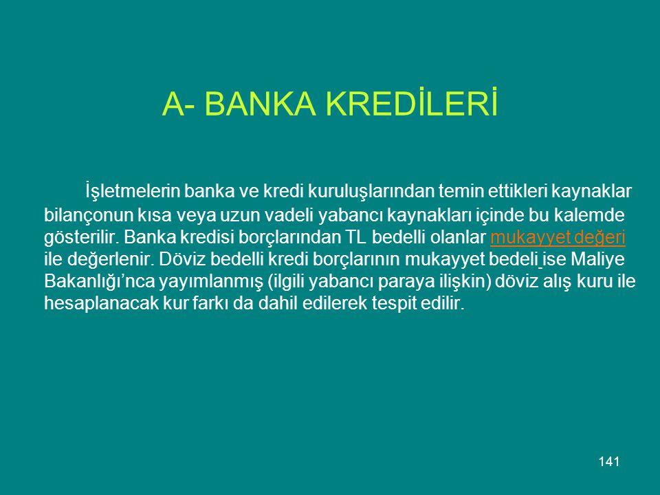 141 A- BANKA KREDİLERİ İşletmelerin banka ve kredi kuruluşlarından temin ettikleri kaynaklar bilançonun kısa veya uzun vadeli yabancı kaynakları içind