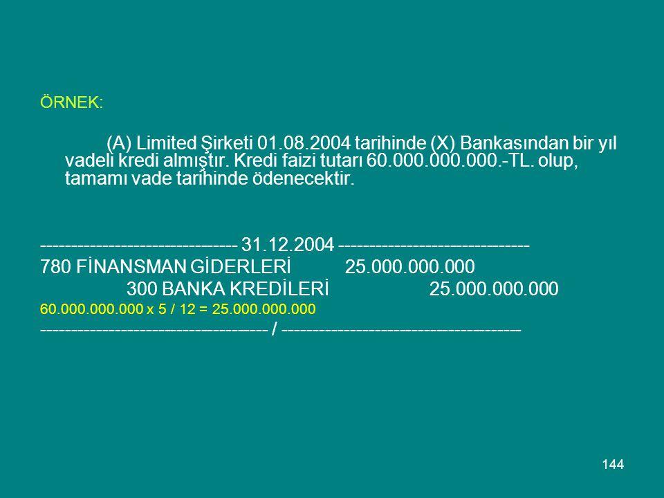 144 ÖRNEK: (A) Limited Şirketi 01.08.2004 tarihinde (X) Bankasından bir yıl vadeli kredi almıştır. Kredi faizi tutarı 60.000.000.000.-TL. olup, tamamı